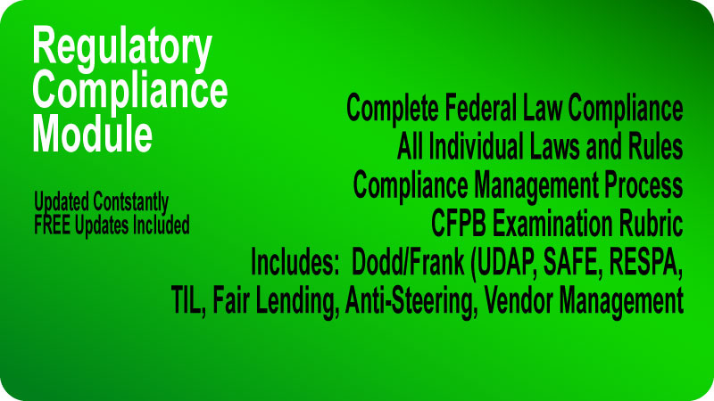 MortgageManuals compliance manual covers ALL federal laws, and compliance best practices